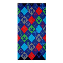 Minecraft Ugly Holiday Christmas Blue Background Shower Curtain 36  x 72  (Stall)