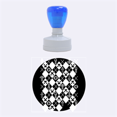 Minecraft Ugly Holiday Christmas Blue Background Rubber Round Stamps (medium)