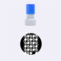 Minecraft Ugly Holiday Christmas Blue Background Rubber Round Stamps (Small)