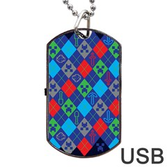 Minecraft Ugly Holiday Christmas Blue Background Dog Tag USB Flash (Two Sides)