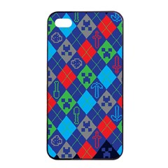 Minecraft Ugly Holiday Christmas Blue Background Apple iPhone 4/4s Seamless Case (Black)