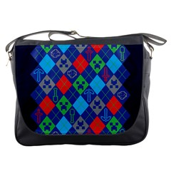 Minecraft Ugly Holiday Christmas Blue Background Messenger Bags