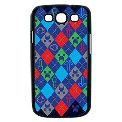 Minecraft Ugly Holiday Christmas Blue Background Samsung Galaxy S III Case (Black)