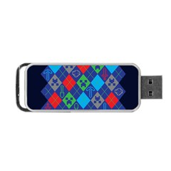 Minecraft Ugly Holiday Christmas Blue Background Portable USB Flash (Two Sides)