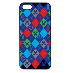 Minecraft Ugly Holiday Christmas Blue Background Apple iPhone 5 Seamless Case (Black)