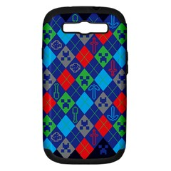 Minecraft Ugly Holiday Christmas Blue Background Samsung Galaxy S III Hardshell Case (PC+Silicone)