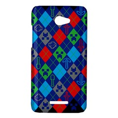 Minecraft Ugly Holiday Christmas Blue Background HTC Butterfly X920E Hardshell Case