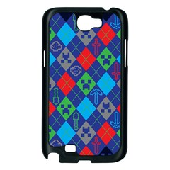 Minecraft Ugly Holiday Christmas Blue Background Samsung Galaxy Note 2 Case (Black)