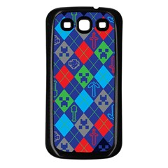 Minecraft Ugly Holiday Christmas Blue Background Samsung Galaxy S3 Back Case (Black)