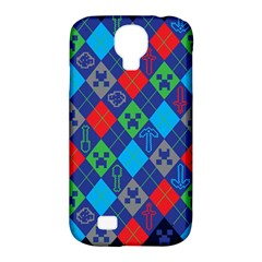 Minecraft Ugly Holiday Christmas Blue Background Samsung Galaxy S4 Classic Hardshell Case (pc+silicone)