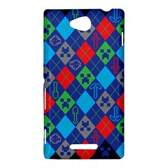 Minecraft Ugly Holiday Christmas Blue Background Sony Xperia C (S39H)