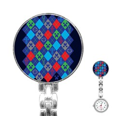 Minecraft Ugly Holiday Christmas Blue Background Stainless Steel Nurses Watch