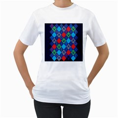 Minecraft Ugly Holiday Christmas Blue Background Women s T-Shirt (White)