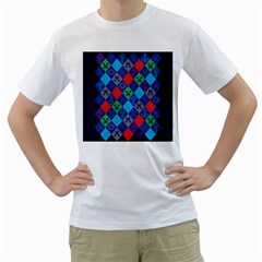 Minecraft Ugly Holiday Christmas Blue Background Men s T Shirt (white)