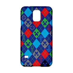Minecraft Ugly Holiday Christmas Blue Background Samsung Galaxy S5 Hardshell Case