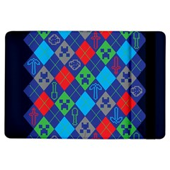 Minecraft Ugly Holiday Christmas Blue Background iPad Air Flip
