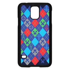 Minecraft Ugly Holiday Christmas Blue Background Samsung Galaxy S5 Case (Black)