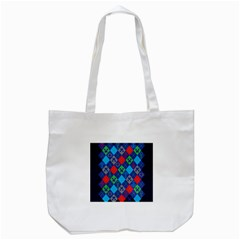 Minecraft Ugly Holiday Christmas Blue Background Tote Bag (White)