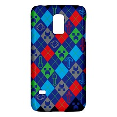 Minecraft Ugly Holiday Christmas Blue Background Galaxy S5 Mini