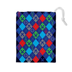 Minecraft Ugly Holiday Christmas Blue Background Drawstring Pouches (large)