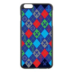 Minecraft Ugly Holiday Christmas Blue Background Apple iPhone 6 Plus/6S Plus Black Enamel Case