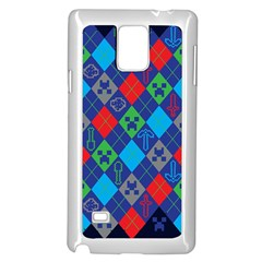 Minecraft Ugly Holiday Christmas Blue Background Samsung Galaxy Note 4 Case (White)