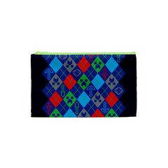 Minecraft Ugly Holiday Christmas Blue Background Cosmetic Bag (XS)