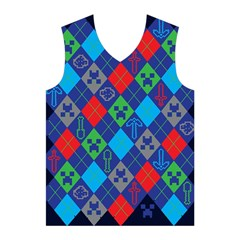 Minecraft Ugly Holiday Christmas Blue Background Men s Basketball Tank Top