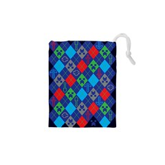 Minecraft Ugly Holiday Christmas Blue Background Drawstring Pouches (xs)