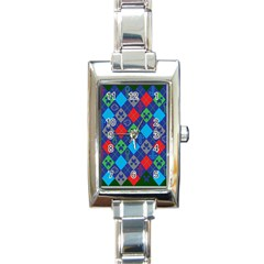 Minecraft Ugly Holiday Christmas Green Background Rectangle Italian Charm Watch