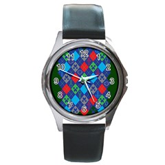 Minecraft Ugly Holiday Christmas Green Background Round Metal Watch