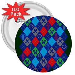 Minecraft Ugly Holiday Christmas Green Background 3  Buttons (100 Pack)