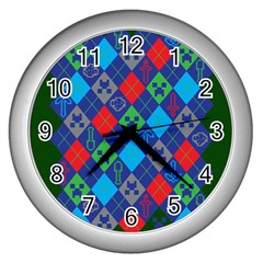 Minecraft Ugly Holiday Christmas Green Background Wall Clocks (Silver)