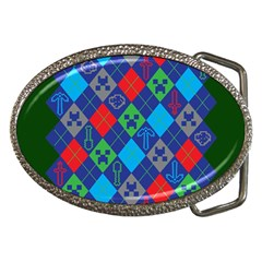 Minecraft Ugly Holiday Christmas Green Background Belt Buckles