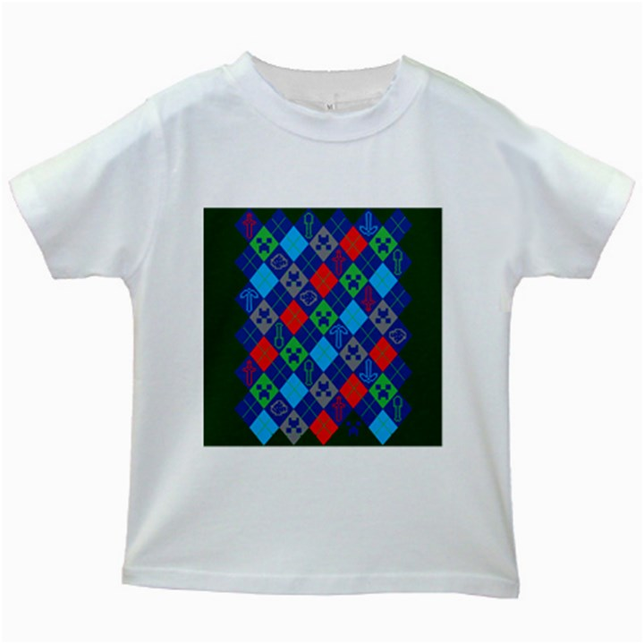 Minecraft Ugly Holiday Christmas Green Background Kids White T-Shirts