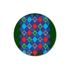 Minecraft Ugly Holiday Christmas Green Background Magnet 3  (round)