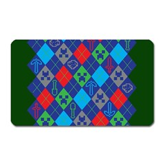 Minecraft Ugly Holiday Christmas Green Background Magnet (Rectangular)