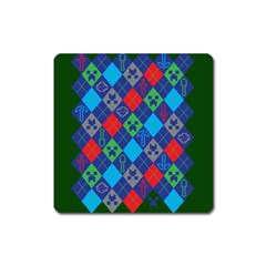 Minecraft Ugly Holiday Christmas Green Background Square Magnet
