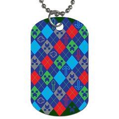 Minecraft Ugly Holiday Christmas Green Background Dog Tag (two Sides)
