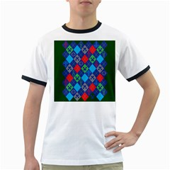Minecraft Ugly Holiday Christmas Green Background Ringer T-Shirts