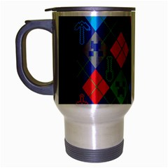 Minecraft Ugly Holiday Christmas Green Background Travel Mug (Silver Gray)