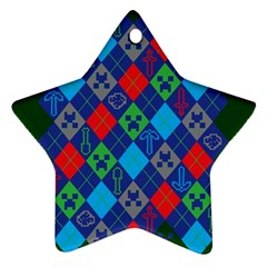 Minecraft Ugly Holiday Christmas Green Background Star Ornament (Two Sides)