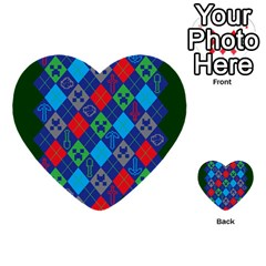 Minecraft Ugly Holiday Christmas Green Background Multi Purpose Cards (heart)