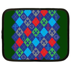 Minecraft Ugly Holiday Christmas Green Background Netbook Case (Large)