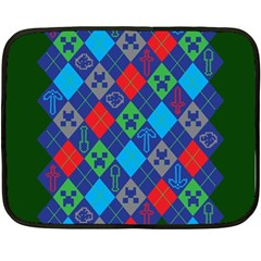 Minecraft Ugly Holiday Christmas Green Background Double Sided Fleece Blanket (Mini)
