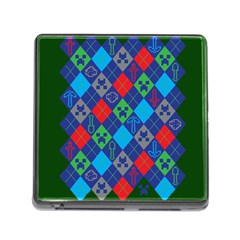 Minecraft Ugly Holiday Christmas Green Background Memory Card Reader (square)