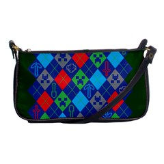 Minecraft Ugly Holiday Christmas Green Background Shoulder Clutch Bags