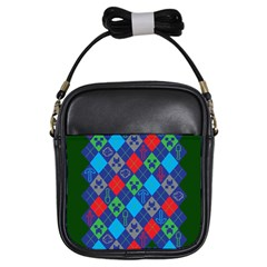 Minecraft Ugly Holiday Christmas Green Background Girls Sling Bags