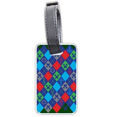 Minecraft Ugly Holiday Christmas Green Background Luggage Tags (Two Sides)