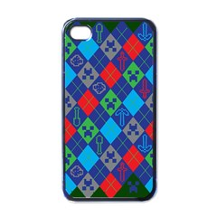 Minecraft Ugly Holiday Christmas Green Background Apple Iphone 4 Case (black)